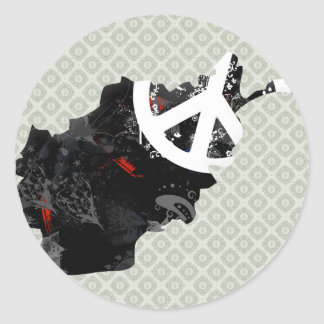 Afghanistan Trendy Peace Sign with Afghan map Round Sticker