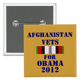 Afghanistan Vets for Obama 2012 15 Cm Square Badge