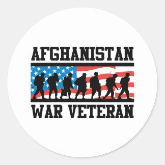 Afghanistan War Veteran Classic Round Sticker