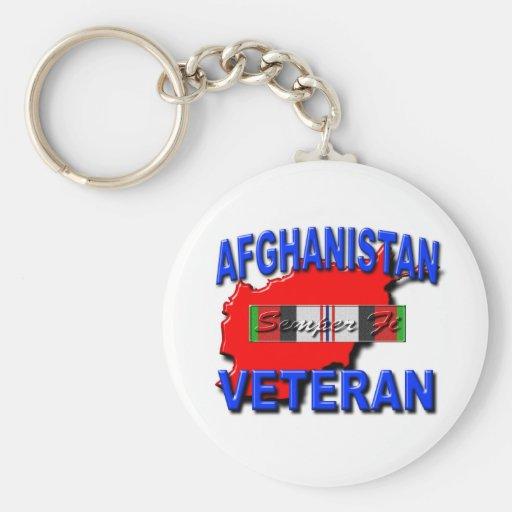Afghanistan War Veteran Service Ribbon Basic Round Button Key Ring
