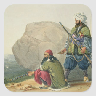 Afghaun Foot Soldiers in their Winter Dress, with Square Sticker