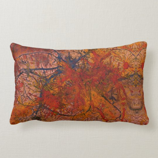 Aflame with Flower Art Lumbar Cushion