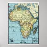 Africa 1890 Vintage Map Poster