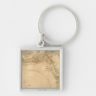 Africa 18 Silver-Colored square key ring