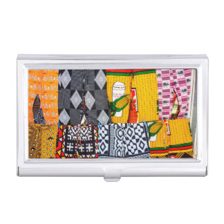 Africa, Angola, Benguela. Brightly Colored Pants Business Card Holder