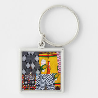 Africa, Angola, Benguela. Brightly Colored Pants Silver-Colored Square Key Ring