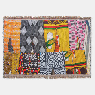 Africa, Angola, Benguela. Brightly Colored Pants Throw Blanket