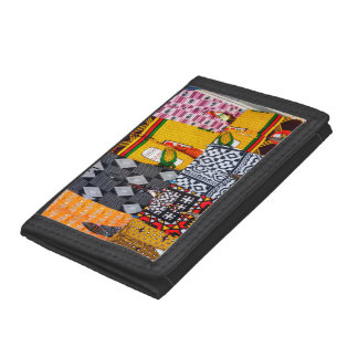 Africa, Angola, Benguela. Brightly Colored Pants Tri-fold Wallet
