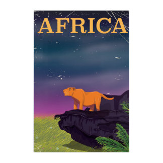 Africa Big Cat Retro Style travel poster Acrylic Print