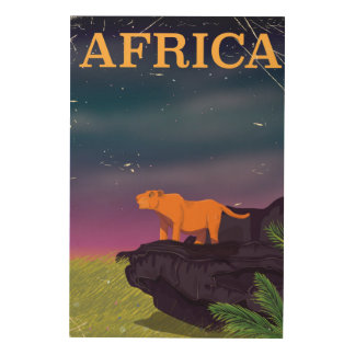 Africa Big Cat Retro Style travel poster Wood Canvas