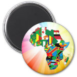 Africa Continent Flag Map 2 6 Cm Round Magnet