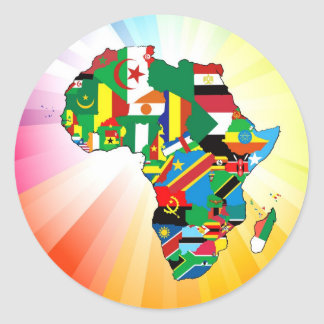 Africa Continent Flag Map 2 Round Sticker