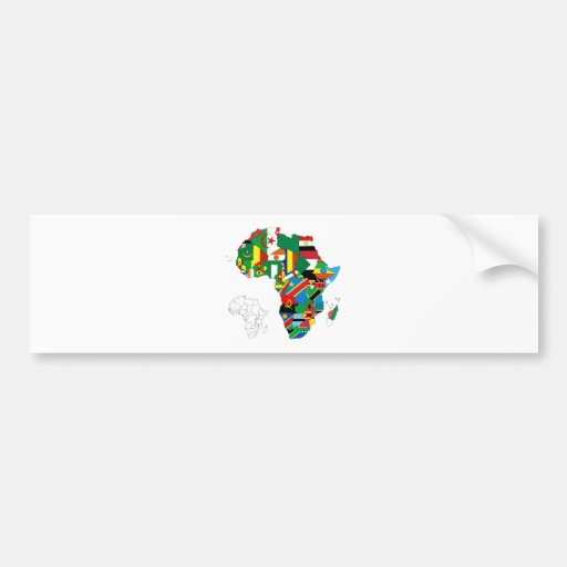 Africa Continent Flag Map Bumper Stickers