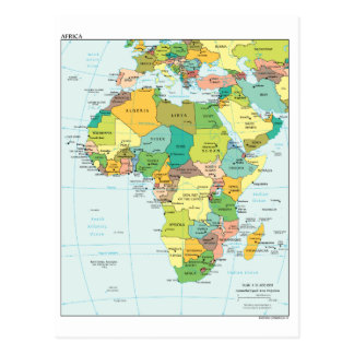 Africa continent map postcard