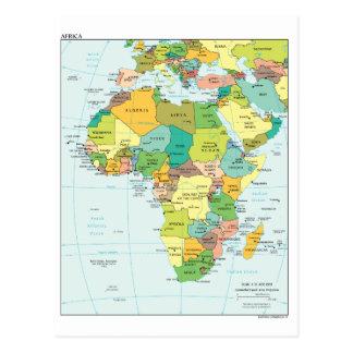 Africa continent map postcard
