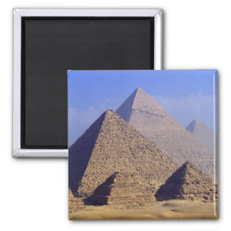 Africa, Egypt, Cairo, Giza. Great pyramids Square Magnet