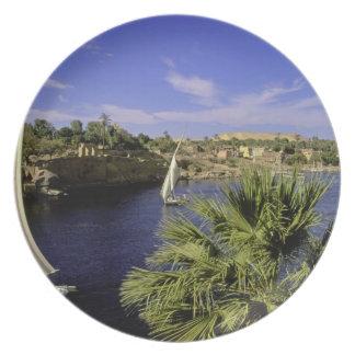 Africa, Egypt, Upper Egypt, Aswan. Feluccas 2 Plate