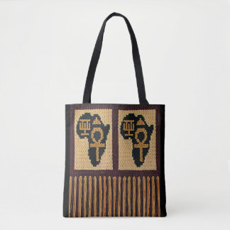 Africa Egyptian and Adinkra Symbols Fringe Crochet Tote Bag