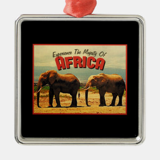 Africa Elephants Vintage Travel Christmas Ornament