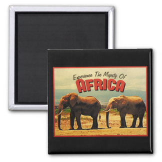 Africa Elephants Vintage Travel Refrigerator Magnet