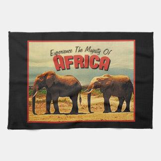 Africa Elephants Vintage Travel Tea Towel