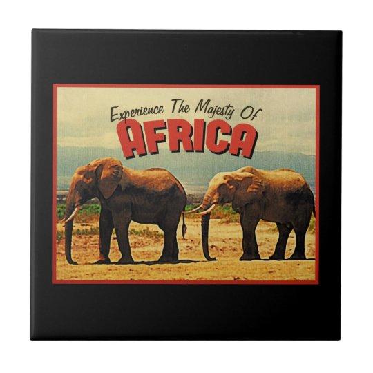Africa Elephants Vintage Travel Tile
