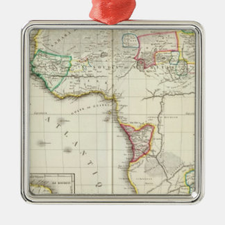 Africa Engraved map with 2 inset maps Silver-Colored Square Decoration