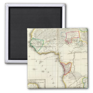 Africa Engraved map with 2 inset maps Square Magnet