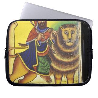Africa, Ethiopia. Artwork depicting Lion of Laptop Sleeve