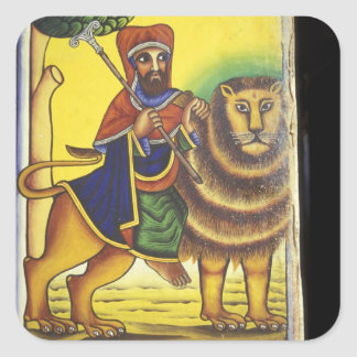 Africa, Ethiopia. Artwork depicting Lion of Square Sticker