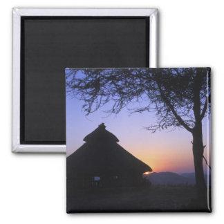 Africa, Ethiopia, Omo river region, Sunset over Square Magnet