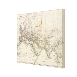Africa, Europe and western Asia Atlas Map Canvas Print