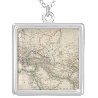 Africa, Europe and western Asia Atlas Map Silver Plated Necklace