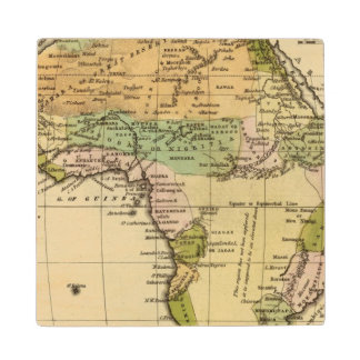 Africa Hand Colored Atlas Map Wood Coaster