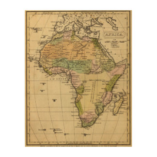 Africa Hand Colored Atlas Map Wood Wall Art