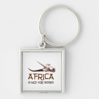 Africa is not for sissies: African Springbok skull Silver-Colored Square Key Ring