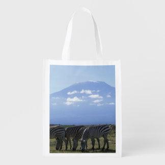 Africa, Kenya, Amboseli National Park, Herd of Reusable Grocery Bag