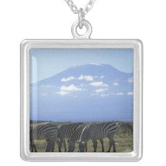 Africa, Kenya, Amboseli National Park, Herd of Square Pendant Necklace