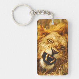 Africa, Kenya, Maasai Mara. Male lion. Wild Double-Sided Rectangular Acrylic Key Ring