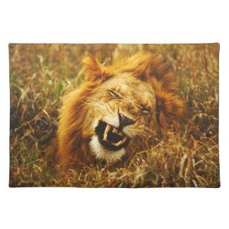 Africa, Kenya, Maasai Mara. Male lion. Wild Placemats