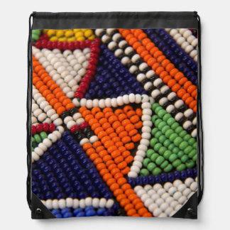 Africa, Kenya. Maasai Tribal Beads Drawstring Bag
