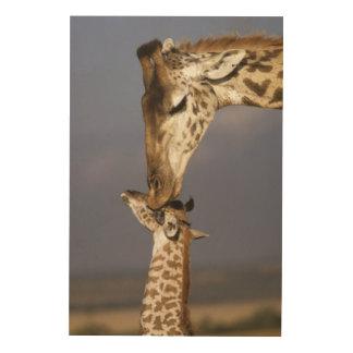 Africa, Kenya, Masai Mara. Giraffes (Giraffe Wood Wall Art