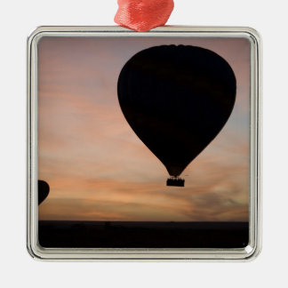 Africa, Kenya, Masai Mara. Two balloons glide Silver-Colored Square Decoration