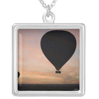 Africa, Kenya, Masai Mara. Two balloons glide Silver Plated Necklace