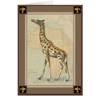 Africa Map and a Giraffe Greeting Card