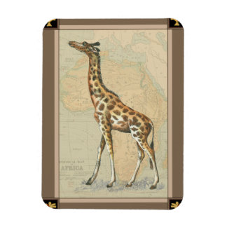 Africa Map and a Giraffe Rectangular Photo Magnet