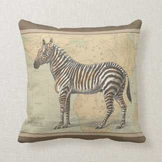 Africa Map and a Zebra Throw Pillow