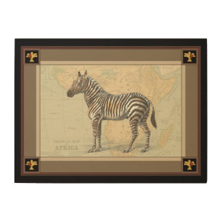 Africa Map and a Zebra Wood Wall Decor