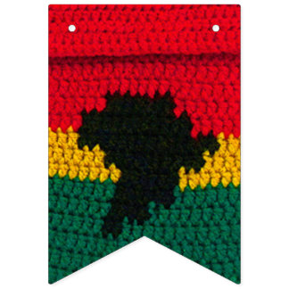 Africa Map Black Red Gold Green Crochet Print on Bunting