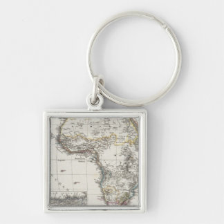 Africa Map by Stieler Silver-Colored Square Key Ring